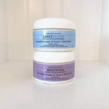 Aromatherapy Personals™ Meditation & Sweet Dreams Whipped Borage Oil Hand & Foot Butter – Duo Set